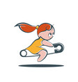 little girl riding a safety pin vector image