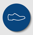 men shoes sign white contour icon in dark vector image