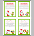 merry christmas placards vector image vector image