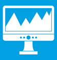 monitor and a chart icon white vector image vector image