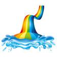 Rainbow and splash of water vector image