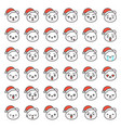 santa bear emotion face in various expession vector image vector image