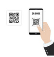 scan qr code to mobile phone electronic digital vector image