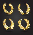 set of gold award laurel wreaths vector image