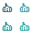 Set of paper stickers on white background house in vector image vector image