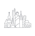 set of world famous symbolical monuments vector image
