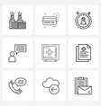 simple set 9 line icons such as health safe vector image vector image