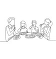 single continuous line drawing family eating meal vector image vector image