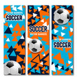 soccer football banners cards with 3d balls vector image