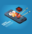 sushi order online or telephone order various vector image