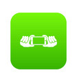 two hands holding mobile phone icon digital green vector image