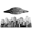 ufo in night sky above city with radiant beam vector image vector image