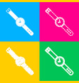 watch sign four styles of icon on vector image