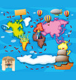 world map with different transportations vector image