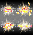 you win and winner congratulation banner vector image vector image