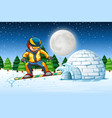 a man snowboarding in nature vector image