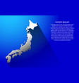 abstract map of japan with long shadow on blue vector image