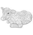 adult coloring bookpage a cute calf image vector image