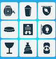 alcohol icons set with cocktail sign poster vector image