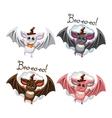 Bat halloween in hat set vector image