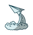 blue shading silhouette of paper plane launch vector image
