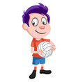 boy with volleyball on white background vector image vector image