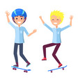 boys on skateboards have fun and perform tricks vector image vector image