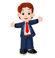 business man cartoon presenting vector image