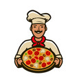 chef with pizza logo menu design for cafe and vector image vector image