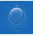 Christmas ball symbol like blueprint drawing vector image