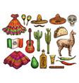 cinco de mayo mexican culture sketch symbols vector image vector image