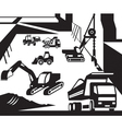 Construction and excavation machinery vector image vector image