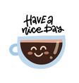 cute cartoon coffee cup character with kawaii vector image vector image