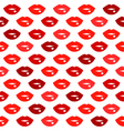 Cute fun red lips kiss seamless pattern vector image