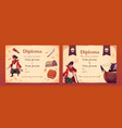 diploma with pirate theme for kids vector image vector image