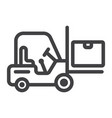 forklift delivery truck line icon logistic vector image vector image