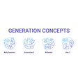 generation concept icons set age groups idea thin vector image vector image