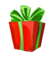 gift box with a green bowknot with wrapped paper vector image vector image