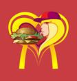 girl and hamburger vector image vector image