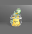 glass money box for tips full dollars cash vector image vector image
