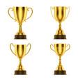 golden cup award 3d gold goblet trophy prize vector image