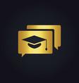 graduation hat education gold logo vector image
