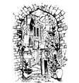 hand drawn of jaffa in israel watercolor sketch vector image vector image