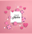 happy mother day paper art spanish card template