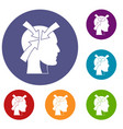 head with arrows icons set vector image vector image