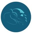 headphones on head icon vector image vector image