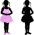little ballerina posing silhouette vector image