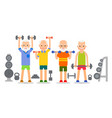 old man doing exercises with dumbells and vector image