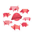 origami pigs collection vector image vector image