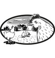 oval frame with chickens vector image